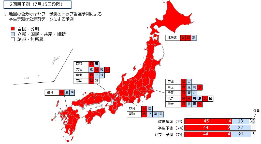 選挙区74議席の政党別予測を日本地図上に表したマップ
