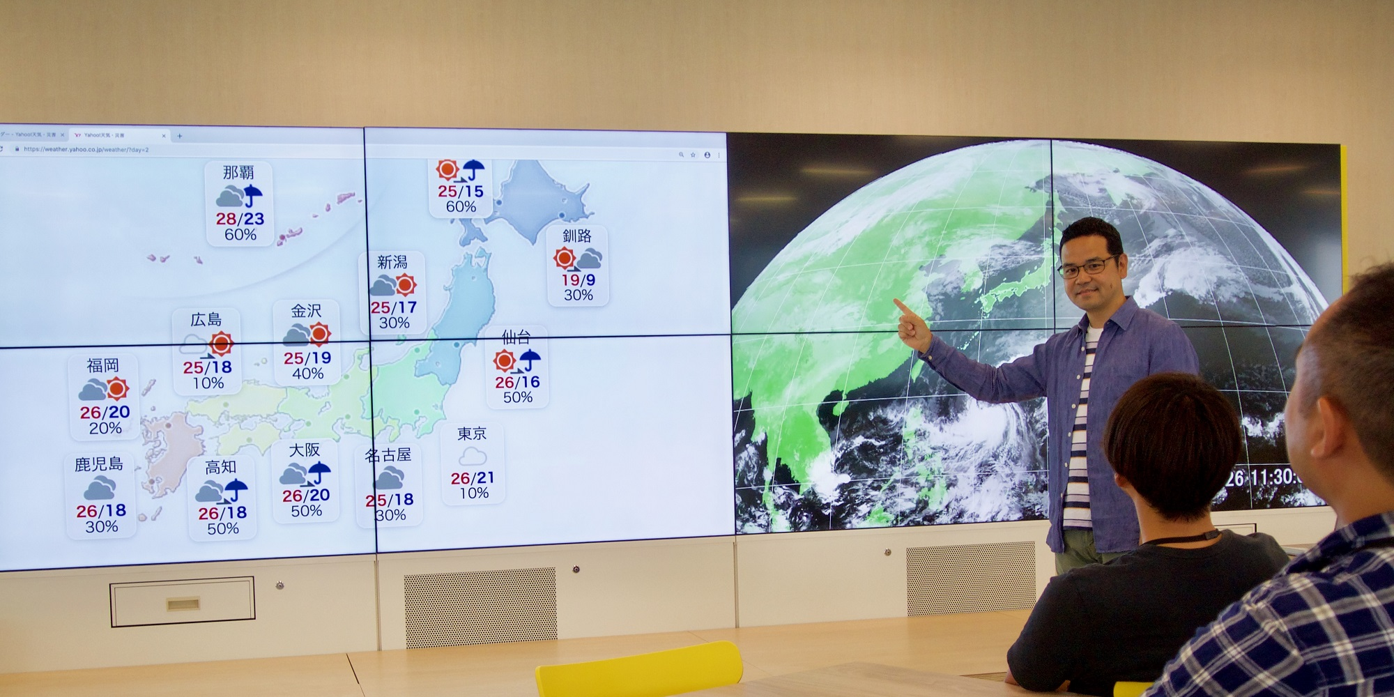 田中が大きなスクリーンに映された天気図を指し示しながら説明をしている写真