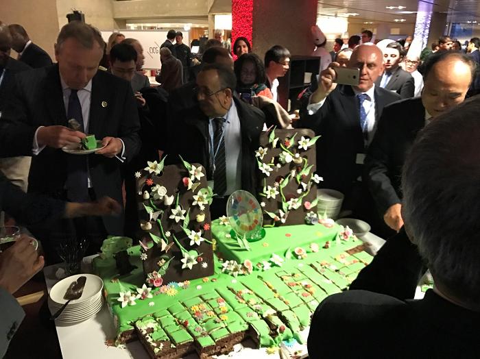 2018年世界情報社会サミット(WSIS)フォーラムのレセプションの写真。緑色の大きなケーキが写っている。