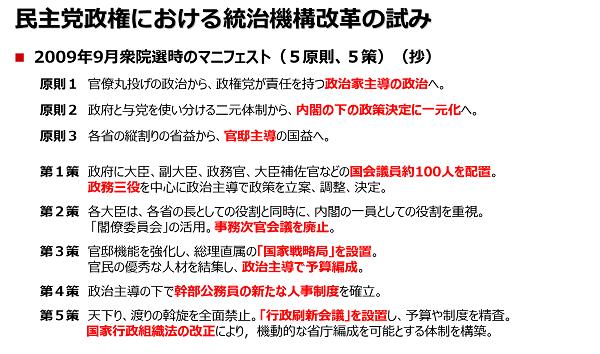 事務局説明資料、タイトルは「民主党政権における統治機構改革の試み」。2009年9月衆院選時のマニフェスト(5原則、5策)の概略が記載されている。原則1官僚丸投げの政治から、政権党が責任を持つ政治家主導の政治へ原則2政府と与党を使い分ける二元体制から、内閣の下の政策決定に一元化へ原則3各省の縦割りの省益から、官邸主導の国益へ。第1策政府に大臣、副大臣、政務官、大臣補佐官などの国会議員約100人を配置第2策各大臣は、各省の長としての役割と同時に、内閣の一員としての役割を重視。「閣僚委員会」活用。事務次官会議廃止。第3策官邸機能を強化し、総理直属の「国家戦略局」を設置。第4策政治主導の下で幹部公務員の新たな人事制度を確立。第5策天下り、渡りの斡旋を全面禁止。「行政刷新会議」を設置し予算や制度を精査など